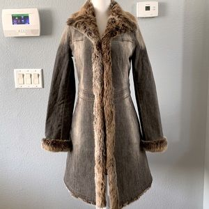 Burberry blue lab distressed jean coat with fur